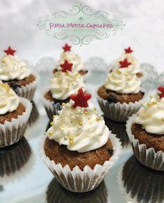 Mini Cupcakes de Plátano con chispas de Chocolate, decorados para Navidad...⭐️❤️