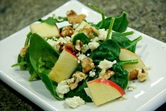 Apple, Gorganzola Cheese, & Walnut Salad. I've been making this salad all week except I use strawberries. So good!!