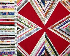 Red Zinger Selvage Quilt Pattern Upcycle by KarenGriskaQuilts. Close-up photo of block and border.
