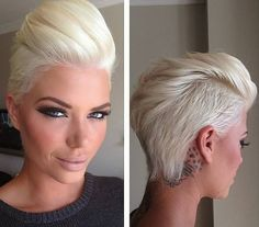 Short, blonde hairstyle with trimmed sides and spiky fringe