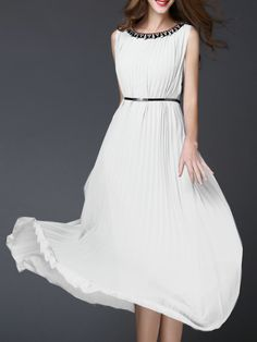 Buy it now. White Beading Belted Pleated Maxi Dress. White Round Neck Sleeveless Chiffon Shift Maxi/Long Plain Fabric has no stretch Yes Summer Casual Day Dresses. , vestidoinformal, casual, camiseta, playeros, informales, túnica, estilocamiseta, camisola, vestidodealgodón, vestidosdealgodón, verano, informal, playa, playero, capa, capas, vestidobabydoll, camisole, túnica, shift, pleat, pleated, drape, t-shape, daisy, foldedshoulder, summer, loosefit, tunictop, swing, day, offtheshoulder,...