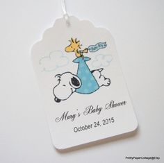 Snoopy, Baby Boy, Tags,  Personalized, Baby Shower, Woodstock, Stork, Set of 6 or 12 by PrettyPaperCottage on Etsy https://www.etsy.com/listing/245792272/snoopy-baby-boy-tags-personalized-baby
