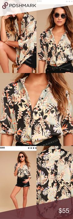 """Free People print top Everyday is a vacay with the Free People Under the Palms Black Print Button-Up Top! Silky woven poly features a bold orange, lavender, mint, and yellow print as it shapes this classic button-up top with a collared neckline and long sleeves with button cuffs. Relaxed bodice with patch pocket and a rounded high-low hem. Unlined. Top measures 5"""" longer at back. 100% Polyester. Machine Wash Cold. Imported. Free People Tops"""