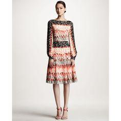 Carolina Herrera Watercolor-Squares Silk Dress ($2,990) ❤ liked on Polyvore