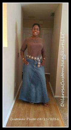 This listing is for you custom Order in your size a Basic Long Jean skirt, that I will hand make out of jeans for you, right here in the USA (these photos are examples only, they are all of my work) I do my very best to match each jean inset to the base. Finished hem with double stitch around the bottom, if you want a frayed look hem please send that message along in the notes when you order. SO cute, and will always be a one of a kind.  *want a great fit? Send along a message when you buy…