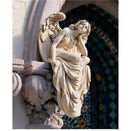 "Large 18.5"" Contemplating Heaven Roman Antique Replica Sitting Angel Sculpture"