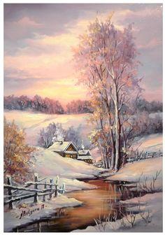 Winter Landscape, Landscape Art, Landscape Paintings, Winter Painting, Winter Art, Winter Scene Paintings, Winter Pictures, Christmas Pictures, Winter Scenery