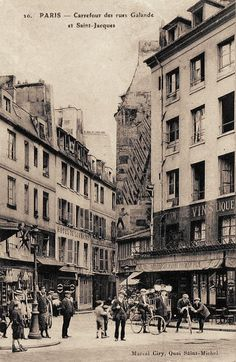 rue Galande - Paris 5ème Le carrefour de la rue Galande et de la rue Saint-Jacques vers 1900. Paris France, Paris 1900, Old Paris, Paris Rue, Old Photos, Vintage Photos, Great Photos, Native American Art, American Symbols