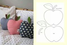 Apple cushion | could make from an old sweater and exaggerate the with of the apple to make it more whimsical