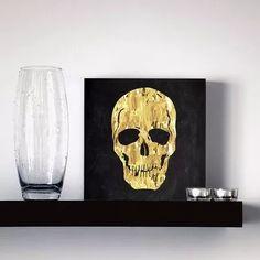 quadro decorativo black gold skull