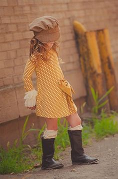 Persnickety Clothing - Lucille Dress in Gold Dot - Seriously? I want this outfit! Fashion Kids, Little Girl Fashion, My Little Girl, My Baby Girl, Look Fashion, Toddler Fashion, Dress Fashion, Fashion Clothes, Pink Girl