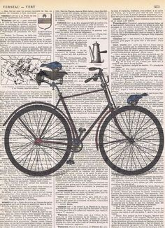Bicycle,Bike, Antique Book Pages Print,Birds,handmade gift.home decor,buy 3 get…
