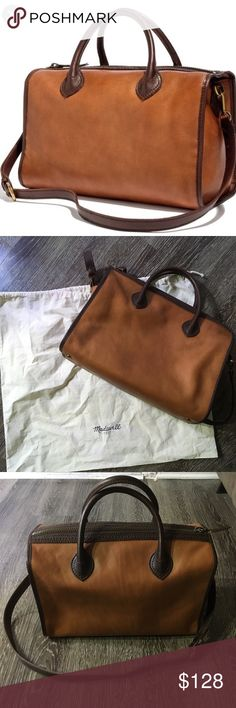 Madewell Camden leather satchel This leather bag from Madewell is gorgeous and so soft! Please note that there are initials imprinted on the bag and there are some very slight markings since the bag has been carried three times. Because it is real leather it will continue to wear in as you use it. Otherwise in really great condition. Includes original dustbag. Smoke-free home. Bundle your likes for a discount offer. Thanks for shopping my closet that helps me fund my dissertation research…