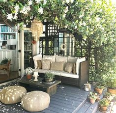 Sweet outdoor spot complete with jasmine