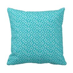 Turquoise Pattern Cushion Throw Pillow