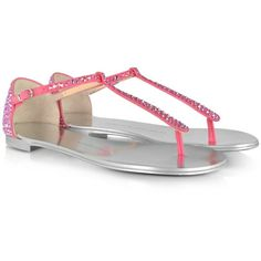 Giuseppe Zanotti Rhinestone and Suede T-Strap Sandal ($730) ❤ liked on Polyvore