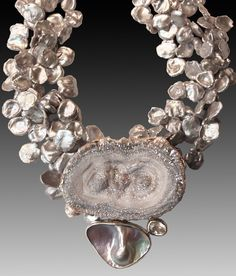 4-Strand Grey Keshi Pearls   Opalized Chalcedony Pendant With Blister Pearl And White Topaz.......