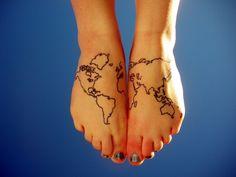 map tattoo on foot