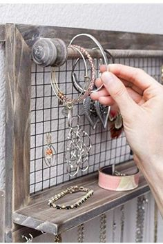 Rustic Jewelry Organizer with Bracelet Rod Wall Mounted l Wooden Wall Mount Holder for Earrings, Necklaces, Bracelets, and Many Other Accessories SoCal Buttercup Other Accessories, Jewelry Accessories, Necklace Charm, Rustic Jewelry, Buttercup, Wooden Walls, Necklaces, Bracelets, Jewelry Organization
