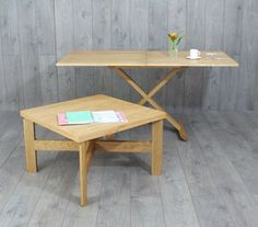 Oak Convertable Eco Coffee Table To Dining Table - furniture