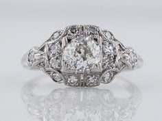 Antique Engagement Ring Art Deco .73ct Old Mine Cut Diamond in Platinum by FiligreeJewelers on Etsy https://www.etsy.com/listing/243254561/antique-engagement-ring-art-deco-73ct
