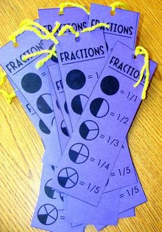Ridiculously Simple DIYs Every Elementary School Teacher Should Know Make fraction reference cards that double as bookmarks.Make fraction reference cards that double as bookmarks. Teaching Fractions, Math Fractions, Teaching Math, Teaching Ideas, Primary Teaching, Fun Math, Math Activities, Fraction Activities, Physical Activities