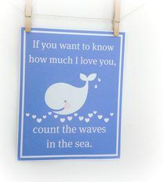 Baby nursery decor- whale wall art, beach