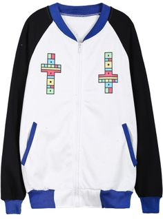 White Contrast Blue Cross Letters Print Sweatshirt US$23.77