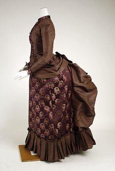 Silk wedding dress (side), 1884