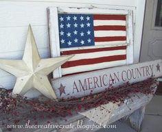 cute decor idea, love the old windo frame with the flag