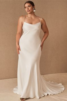 This minimalist satin wedding dress is one of our WeddingWire editors' top picks. WeddingWire has tons of recommendations for wedding dresses and jumpsuits for all wedding types. Click for more courthouse wedding dress ideas. Planning your wedding has never been so easy (or fun!)! WeddingWire has tons of wedding ideas, advice, wedding themes, inspiration, wedding photos and more. {BHLDN} Slip Wedding Dress, Courthouse Wedding Dress, Civil Wedding Dresses, Wedding Dresses Plus Size, Dream Wedding Dresses, Modern Wedding Dresses, Bhldn Wedding Dress, Formal Dresses, Bridal Outfits