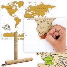 Poster Mapamundi, rasca los países visitados - Tienda de regalos originales QueLoVendan.com