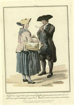 Pipe-smoking Dutch man wearing tricorned hat  meets outdoors with peasant woman, in The Batavian Republic (a.k.a. The Netherlands.). Engraved by Lodewijk Portman (1772 - ca. 1813), published in 1803.
