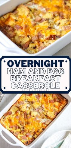 A delicious recipe you can make ahead! With the best sweet and savory notes from ham, cheddar cheese, egg custard, and cubed bread, this simple breakfast casserole for a crowd is incredibly… More Delicious Breakfast Recipes, Savory Breakfast, Breakfast Dishes, Brunch Recipes, Brunch Ideas, Breakfast Ideas, Yummy Recipes, Baking Recipes, Cake Recipes