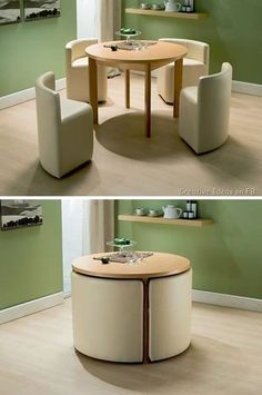 Compact table for a small kitchen. Functional idea, with variations of course