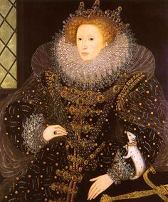 William Segar, The Ermine Portrait 1585 | Elizabeth I of England (7 September 1533 – 24 March 1603) was the Queen of England, Ireland, and nominal claimant to Queen of France from 17 November 1558 until she died in 1603. She has also been called The Virgin Queen or Good Queen Bess.