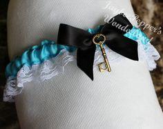 Garter Disney Garter prom Alice in Wonderland Garter set wedding garter lace satin bow turquoise cute wedding keepsake sexy on Etsy, $20.00