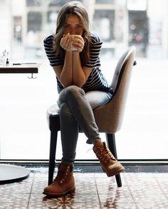 Un Look Femme Jeans + Tee shirt + Timberland ! RDV chez Parano à reims.