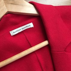 Banana Republic Sweater Blazer Red with 3 black front buttons and pockets on each side.  68% Pima cotton 18% nylon 3% lycra 11% wool Banana Republic Jackets & Coats Blazers