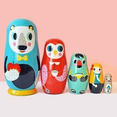 Into the Woods Nesting Dolls (designed by Helen Dardik) with three bears, a friendly owl and little Goldilocks.