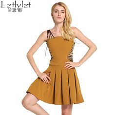 new dress bandage sexy dresses sleeveless A line Hem folds woman clothes fit and flare hollow out hot sale