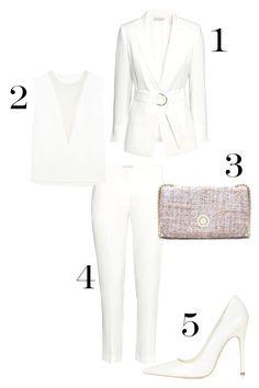 1. H&M Jacket with Belt, $49.95; hm.com. 2. Joesph Fan Organza-Paneled Stretch-Cape Top, $395; net-a-porter.com. 3. Zara Tweed Messenger Bag, $79.90; zara.com. 4. H&M Suit Pants, $34.95; hm.com. 5. Topshop Gallop Patent Court Shoe, $95; topshop.com.   - MarieClaire.com