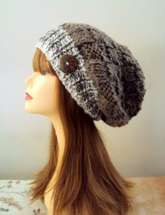 Super Slouchy Beanie Button Hat KNIT BAGGY HAT by GrahamsBazaar, $79.99