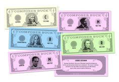 "MUSIC BUCKS Composer Bucks - Fun new incentives for practice, progress, and behavior! Kids will want to collect them all, or save their bucks to buy treats or earn special awards. Pass out bucks as an easy way to track scores in individual and team games! 5.5"" x 2"". Pkg. of 144 Team Games, To Collect, Music Awards, Scores, Behavior, Fun Facts, Track, History, Easy"