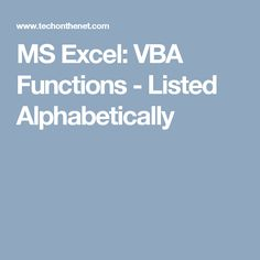 MS Excel: VBA Functions - Listed Alphabetically