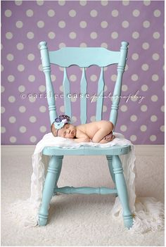 Robin egg blue and lavender newborn photo shoot.