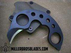 "Custom ""Hook"" style karambit with double finger holes Miller Bros. Blades handmade knives, swords & tomahawks"