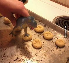 Cute idea for a dinosaur party! Simple sugar cookies with dinosaur footprints. Use a dinosaur toy figure to make the footprint. This is virtually a free DIY if you're making cookies for the party and you have a dinosaur toy. Dinosaur Birthday Party, 3rd Birthday Parties, Birthday Ideas, Elmo Party, Mickey Party, Birthday Boys, Party Party, Third Birthday, Happy Birthday