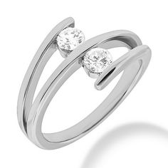 0.50 Carat 2-Diamond Cocktail Ring Gold Platinum