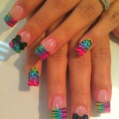 Pink nails tie dye nails